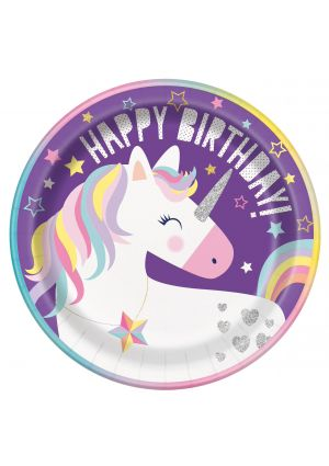 Unicorn Party Paper Plates 23cm 8pk