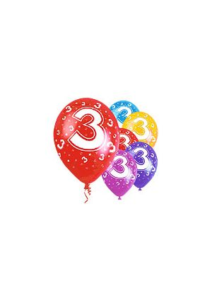 Age 3  12 inch Pearlised Balloons