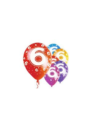 Age 6  12 inch Pearlised Balloons
