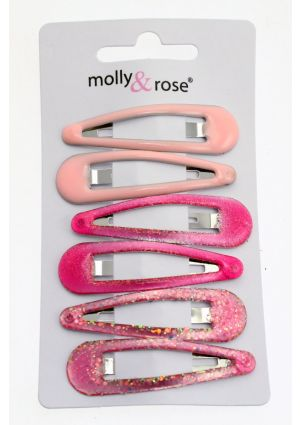 6 Assorted Pink Hair Clips