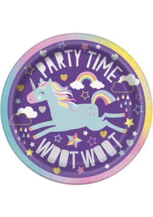 Unicorn Party Paper Plates 17cm 8pk
