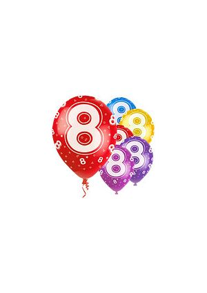 Age 8  12 inch Pearlised Balloons