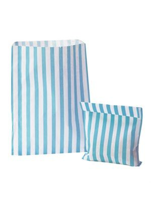 Aqua Blue Candy Striped Treat Bag
