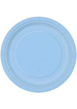 Powder Blue Paper Plates 22cm 16 Pack