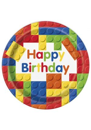 Happy Birthday Building Blocks Paper Plates 23cm 8 Pack