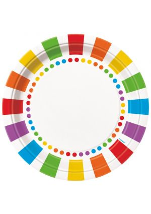 Rainbow Paper Plate 23cm 8 pack
