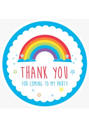 Blue Rainbow Party Label