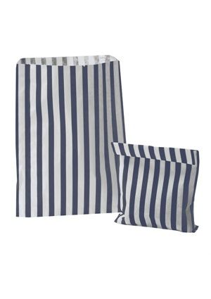 Blue Candy Striped Treat Bag