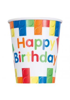 Happy Birthday Building Blocks Paper Party Cups