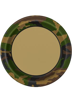 New Camouflage Party Paper Plates 23cm 8 Pack