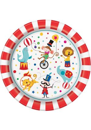 Circus Carnival Party Paper Plates 23cm 8 Pack