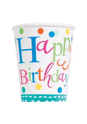 Happy Birthday Confetti Cake Paper Party Cups