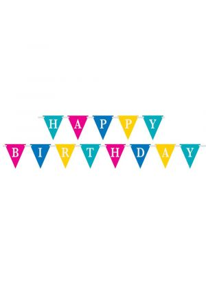 Happy Birthday Confetti Cake Flag Bunting