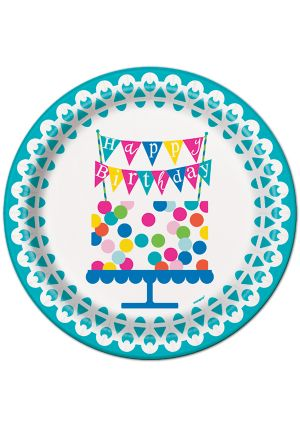 Happy Birthday Confetti Cake Paper Plates 23cm 8 Pack