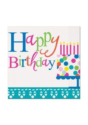 Happy Birthday Confetti Cake Lunch Napkins