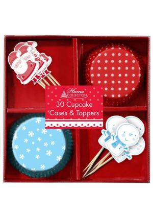 Christmas Cup Cake Cases and Toppers