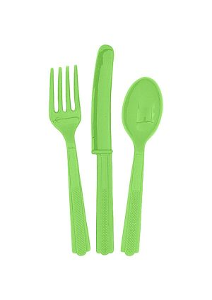 Lime Green Cutlery 18pk