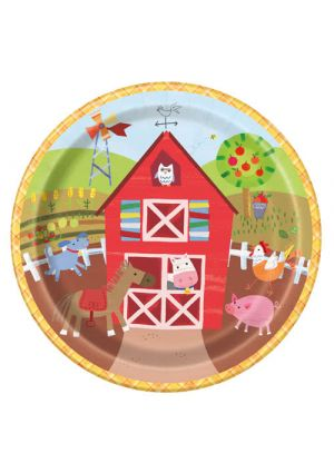 Farm Party Paper Plates 23cm 8 Pack