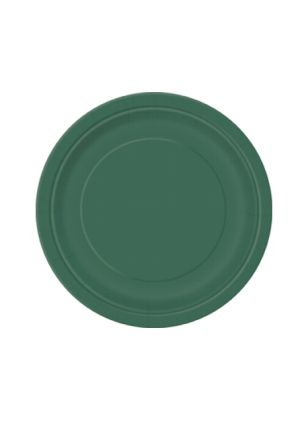 Forest Green Paper Plates 17cm - 20pk