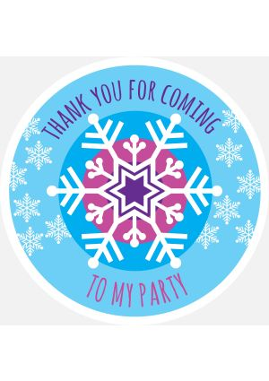 Frozen Snowflake Thank You Label