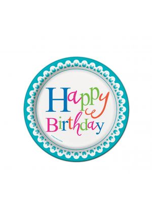 Happy Birthday Confetti Cake Paper Plates 17cm 8 Pack