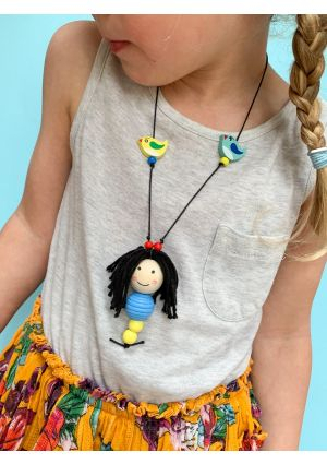 Wooden Doll Face Necklace - Snow White - DIY Kit