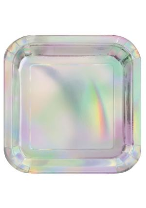 Iridescent Square Party Paper Plates Large