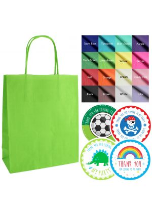 Mix & Match - Lime Green paper party bags, labels & tissue paper