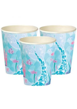 Mermaid Party Paper Cups 8pk