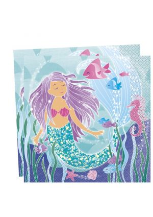 Mermaid Party Lunch Napkins - 16pk