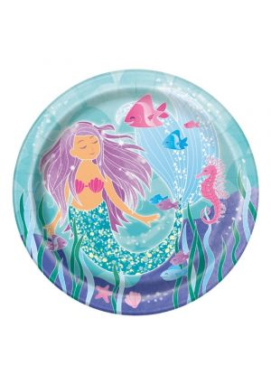Mermaid Party Paper Plates 23cm - 8pk
