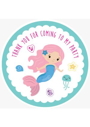Mermaid Party Label