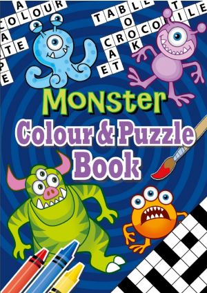 Monster Puzzle & Colouring Book