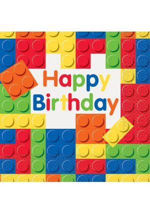Happy Birthday Building Blocks Lunch Napkins