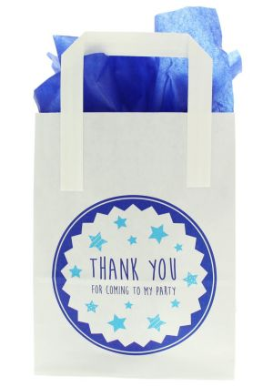 White Paper Party Bag with Blue Thank you for Coming to My Party