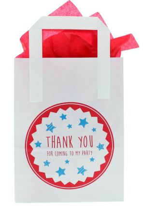 White Paper Party Bag with Red Thank You for Coming to my Party