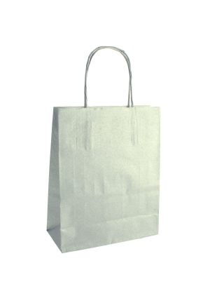 Silver Paper Party Bag with Twisted Handles