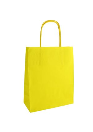 Yellow Paper Party Bag with Twisted Paper Handles