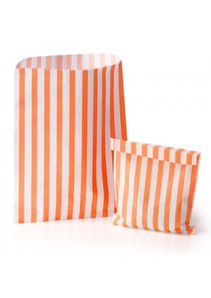 Orange Candy Striped Treat Bag