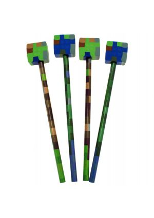 Minecraft Style Pencil with Shaped Topper