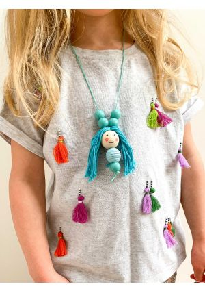 Wooden Doll Face Necklace - DIY Kit