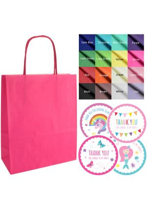 Mix & Match - Pink paper party bags, labels & tissue paper