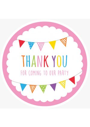 Pink Bunting Party Label - OUR Party