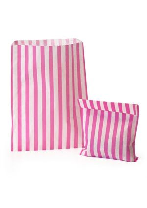 Pink Candy Striped Treat Bag