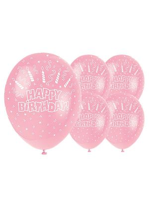 Pink Happy Birthday Candles Balloons
