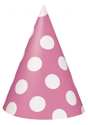 Pink Polka Dot Cone Party Hats