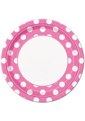 Pink Polka Dot Large Party Plates 8 pack