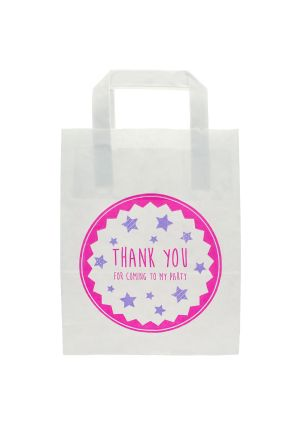 White Paper Party Bag with Pink Thank you for Coming To My Party
