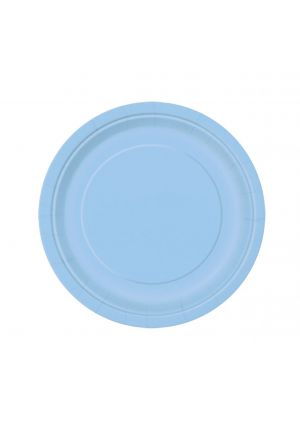 Powder Blue Paper Plates 17cm - 20pk