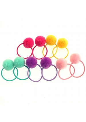 A Pack of 2 Pom Pom Hair Elastics